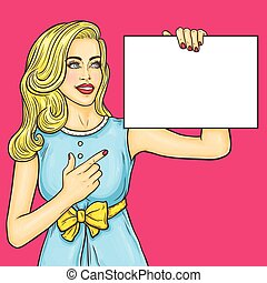 Pop art girl showing ads - Vector illustration pop art girl...
