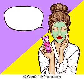 Pop art girl with cosmetic mask on face