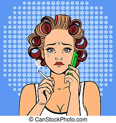 Pop art girl with phone crying
