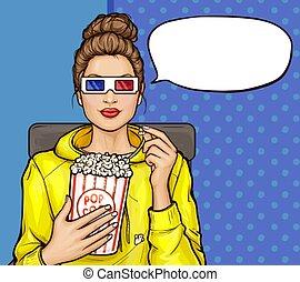 Pop art girl with popcorn watching 3D movie