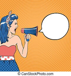 Pop art girl with speech bubble and megaphone. Retro vector illustration