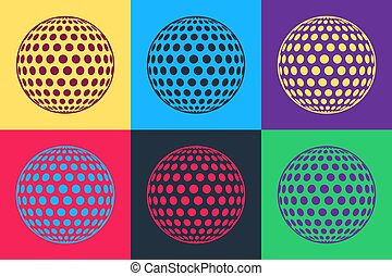 Pop art Golf icon isolated on color background.  Vector