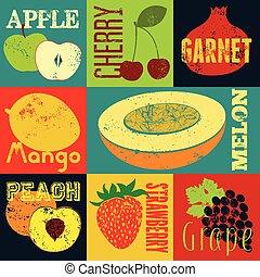 Pop Art grunge style fruit poster.