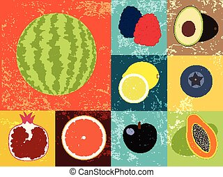 Pop Art grunge style fruit poster.