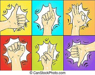 Pop art hands gestures vector illustration.