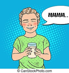 Pop Art Happy Boy with Glass of Milk. Healthy Eating. Vector illustration