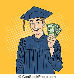 Pop Art Happy Graduated Student with Money. Vector...
