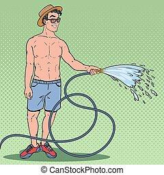 Pop Art Happy Guy Watering with Garden Hose. Vector illustration