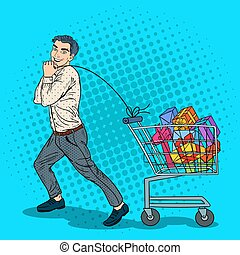 Pop Art Happy Man with Shopping Cart full of Gifts. Vector illustration
