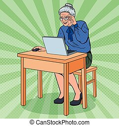 Pop Art Happy Senior Woman Using Laptop. Smiling Grandmother with Computer. Vector illustration