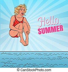 Pop Art Happy Woman Jumping into the Sea. Hello Summer Beach Vacation Concept. Vector illustration