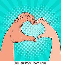 Pop Art Health Care, Charity, Children Donation Concept. Adult and Child Hands make Heart Shape. Vector illustration