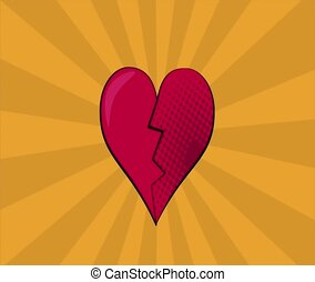 Pop art heart broken HD definition - Pop art heart broken...