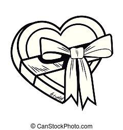 Pop art heart shaped giftbox cartoon