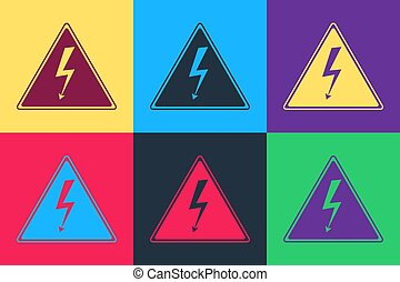Pop art High voltage sign icon isolated on color background. Danger symbol. Arrow in triangle. Warning icon. Vector