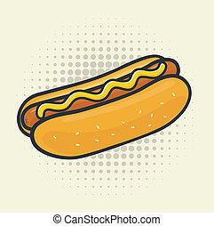Pop Art Hot Dog - Delicious vector hot dog. Halftone...