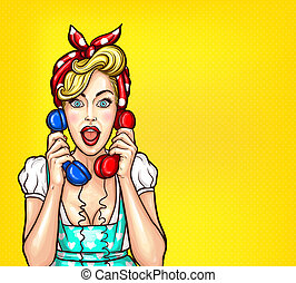 pop art illustration of an excited surprised blond woman...