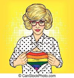 Pop art illustration of lesbian