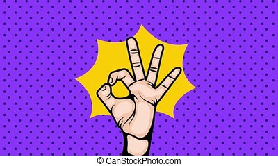 Pop Art illustration. OK Hand sign. - pop art ok hand...