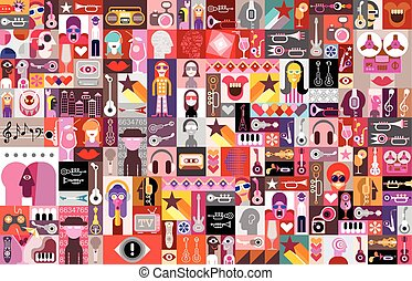 Pop-Art - Large vector pop-art collage of various images and...