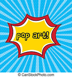 pop art explosion over blue background. vector illustration