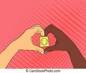 Pop art image of hands in the shape of the heart. Condom...