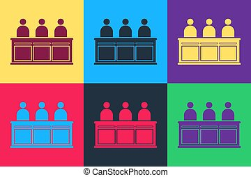 Pop art Jurors icon isolated on color background. Vector