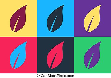 Pop art Leaf icon isolated on color background. Vector