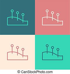 Pop art line Acupuncture therapy icon isolated on color background. Chinese medicine. Holistic pain management treatments. Vector