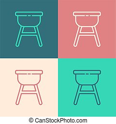 Pop art line Barbecue grill icon isolated on color background. BBQ grill party. Vector Illustration