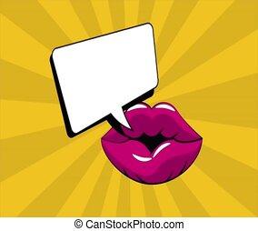 Pop art lips with blank speech bubble HD definition - Pop...