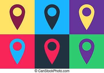Pop art Location icon isolated on color background. Pointer symbol. Navigation map, gps, direction, place, compass, contact, search concept. Vector