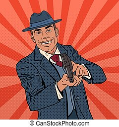 Pop Art Mafia Boss with Gun and Golden Tooth. Vector illustration