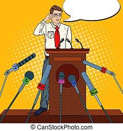 Pop Art Man Giving Press Conference. Mass Media Interview....