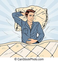 Pop Art Man in Bed Suffering Insomnia and Sleeplessness. Vector illustration