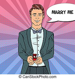 Pop Art Man in Tail-Coat with Wedding Ring. Marriage Proposal. Vector retro illustration