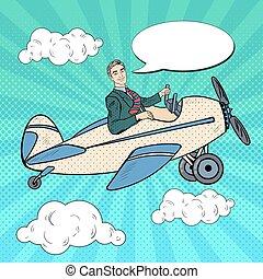 Pop Art Man Riding Retro Airplane with Comic Speech Bubble. Vector illustration