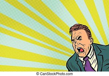 Pop art man shouting