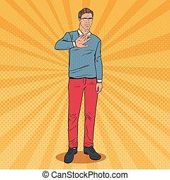 Pop Art Man Showing Gesture of Disgust. Stop Hand Sign. Vector illustration