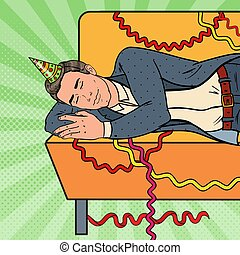 Pop Art Man Sleeping on the Sofa after Corporate Office Party. New Year Celebration, Birthday. Vector illustration