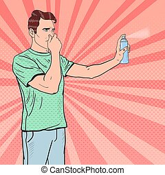 Pop Art Man Spraying Can of Air Freshener. Vector illustration