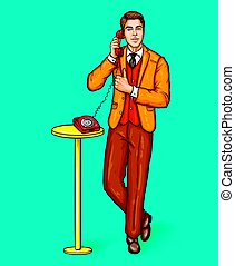 Pop art man talking on a retro phone and shows the thumbs up