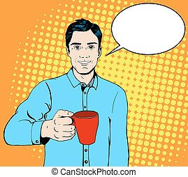 Pop art man with a cup of coffee