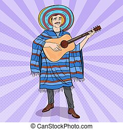 Pop Art Mariachi Playing Guitar. Mexican Man in Poncho and Sombrero. Vector illustration