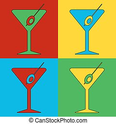 Pop art martini glass symbol icons.
