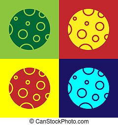 Pop art Moon icon isolated on color background. Vector Illustration
