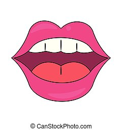 pop art mouth design - female mouth with pink lips showing ...