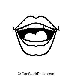 Pop art mouth open line style