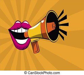 Pop art mouth with bullhorn cartoon HD definition - Pop art...