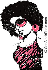 pop art music lady illustration